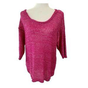 Torrid pink sequin dolman 3/4 sleeve top 1x